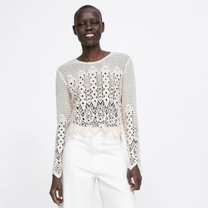 Zara Crochet Top Sz S